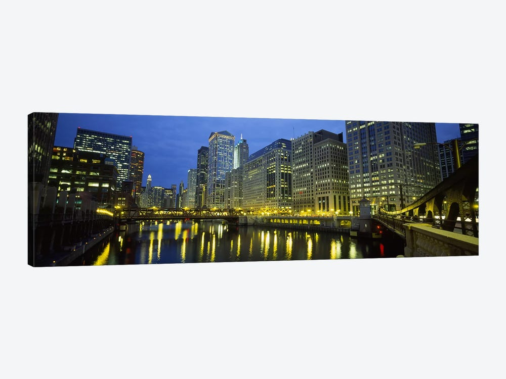 Low angle view of buildings lit up at night, Chicago River, Chicago, Illinois, USA by Panoramic Images 1-piece Canvas Print