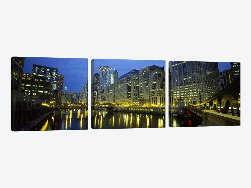 Low angle view of buildings lit up at night, Chicago River, Chicago, Illinois, USA by Panoramic Images 3-piece Canvas Art Print