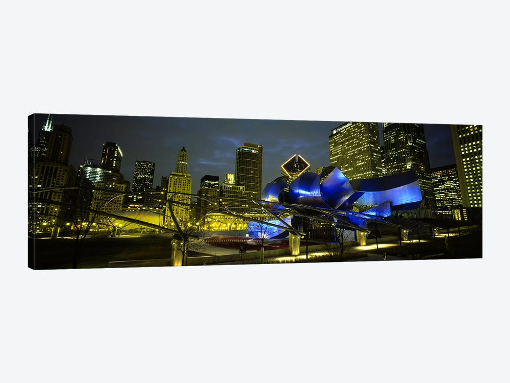 Low angle view of buildings lit up at night, Pritzker Pavilion, Millennium Park, Chicago, Illinois, USA 1-piece Canvas Art