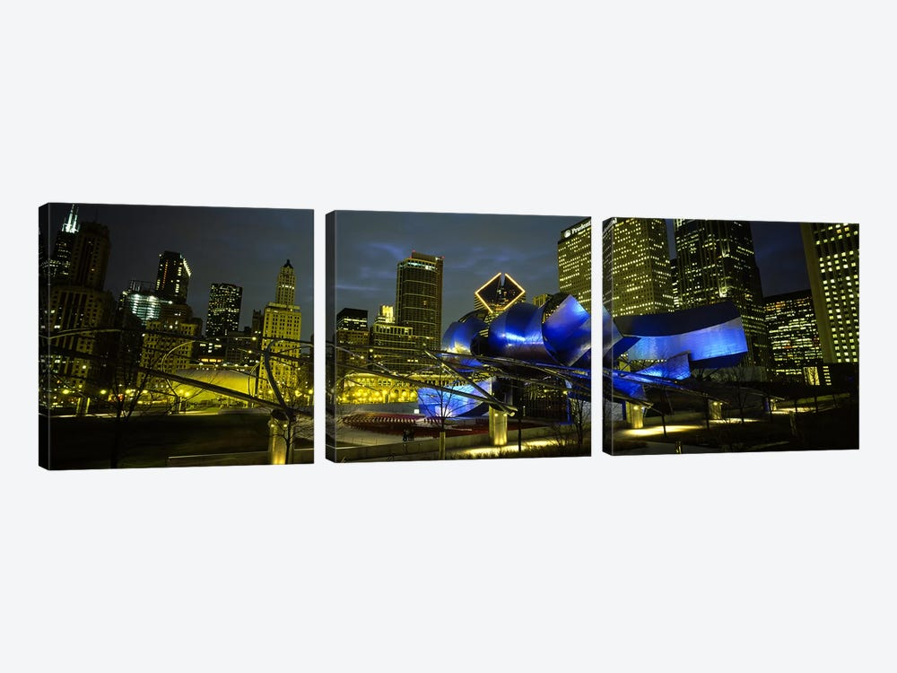 Low angle view of buildings lit up at night, Pritzker Pavilion, Millennium Park, Chicago, Illinois, USA by Panoramic Images 3-piece Canvas Wall Art