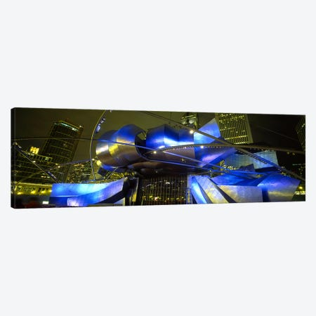 Pavilion in a park lit up at night, Pritzker Pavilion, Millennium Park, Chicago, Illinois, USA Canvas Print #PIM5453} by Panoramic Images Art Print