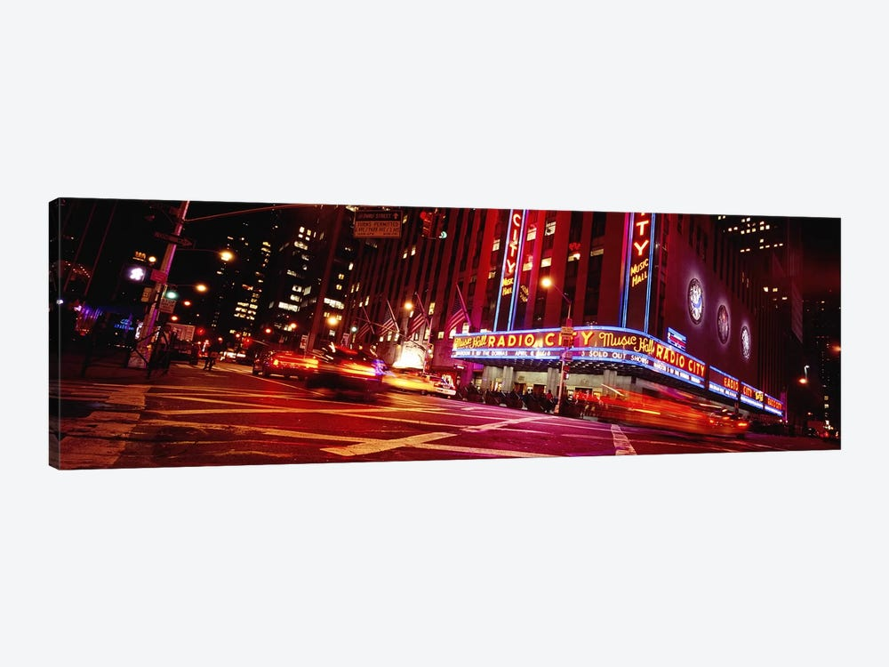 Bluirred Motion View Of Traffic Around Radio City Music Hall, Rockefeller Center, Manhattan, New York City, New York, USA by Panoramic Images 1-piece Canvas Art