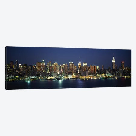 Skyline At Night, Manhattan, New York City, New York, USA 3-Piece Canvas #PIM5458} by Panoramic Images Art Print