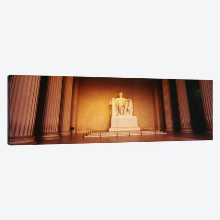 Low angle view of a statue of Abraham Lincoln, Lincoln Memorial, Washington DC, USA Canvas Print #PIM5460} by Panoramic Images Canvas Wall Art