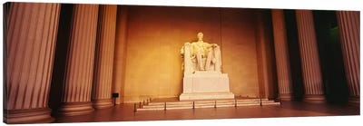 Low angle view of a statue of Abraham Lincoln, Lincoln Memorial, Washington DC, USA Canvas Art Print