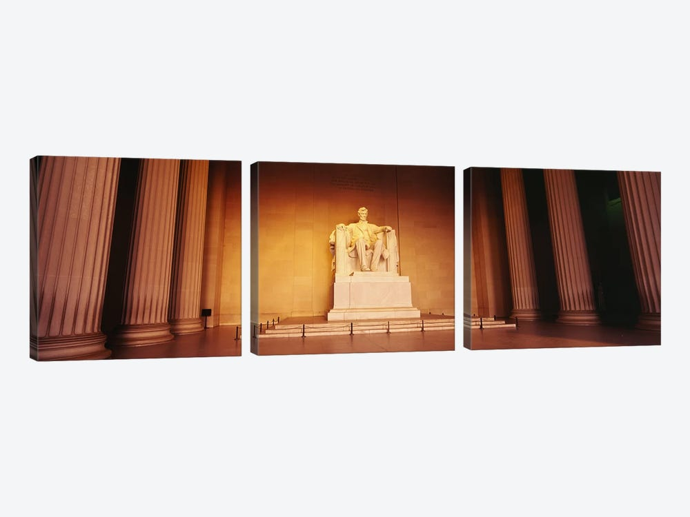 Low angle view of a statue of Abraham Lincoln, Lincoln Memorial, Washington DC, USA by Panoramic Images 3-piece Canvas Print