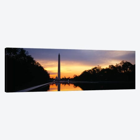 Silhouette of an obelisk at dusk, Washington Monument, Washington DC, USA Canvas Print #PIM5461} by Panoramic Images Canvas Artwork