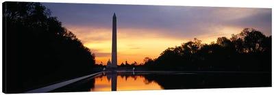 Silhouette of an obelisk at dusk, Washington Monument, Washington DC, USA Canvas Print #PIM5461