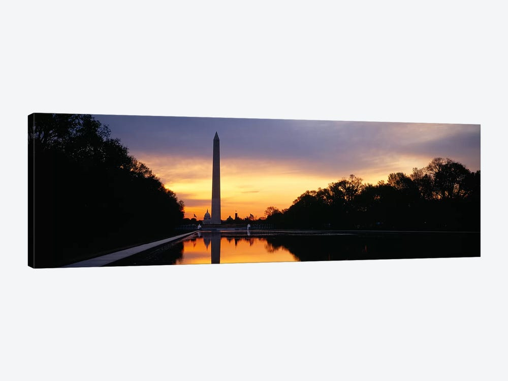 Silhouette of an obelisk at dusk, Washington Monument, Washington DC, USA by Panoramic Images 1-piece Canvas Artwork