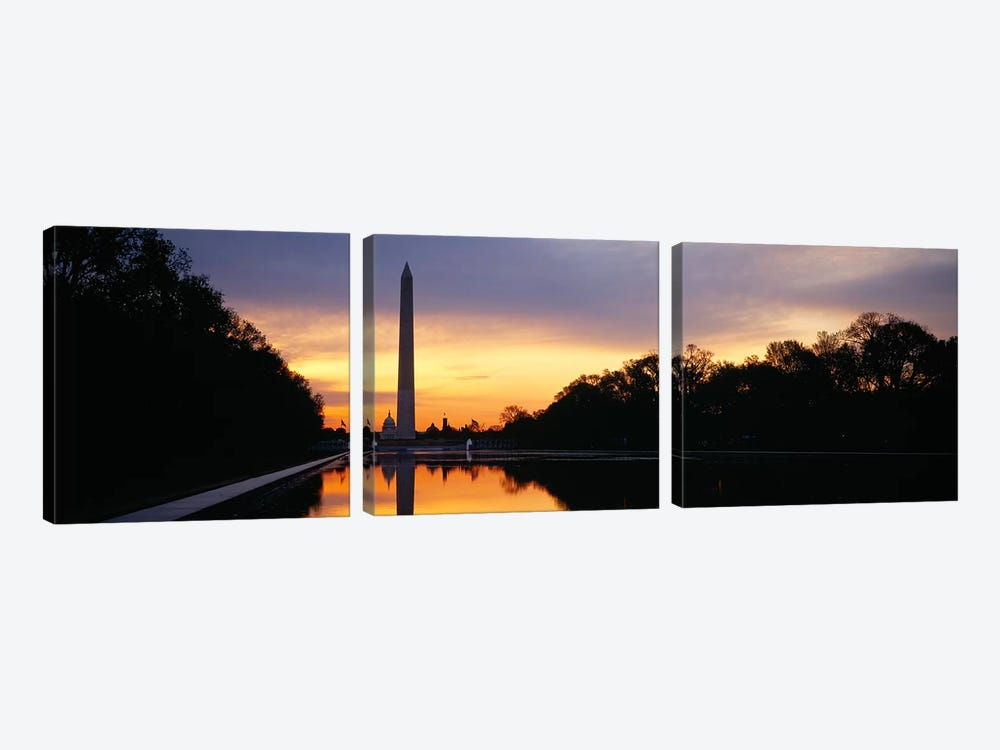 Silhouette of an obelisk at dusk, Washington Monument, Washington DC, USA by Panoramic Images 3-piece Canvas Artwork