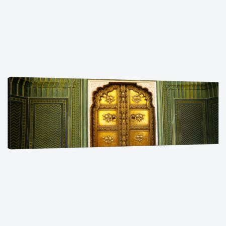 Close-up of a closed door of a palace, Jaipur City Palace, Jaipur, Rajasthan, India Canvas Print #PIM5466} by Panoramic Images Canvas Print