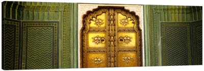 Close-up of a closed door of a palace, Jaipur City Palace, Jaipur, Rajasthan, India by Panoramic Images Canvas Print