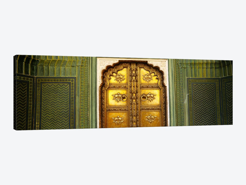 Close-up of a closed door of a palace, Jaipur City Palace, Jaipur, Rajasthan, India 1-piece Canvas Print