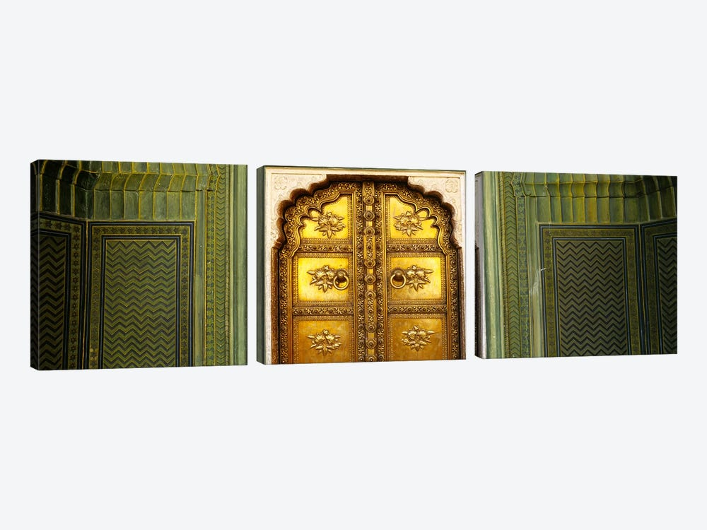 Close-up of a closed door of a palace, Jaipur City Palace, Jaipur, Rajasthan, India 3-piece Canvas Art Print