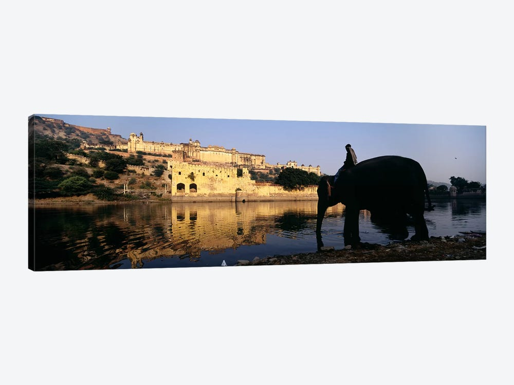Side profile of a man sitting on an elephant, Amber Fort, Jaipur, Rajasthan, India by Panoramic Images 1-piece Canvas Artwork