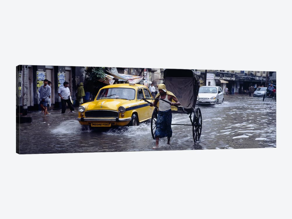 Pulled Rickshaw In Traffic On A Flooded Street, Calcutta, West Bengal, India by Panoramic Images 1-piece Canvas Wall Art