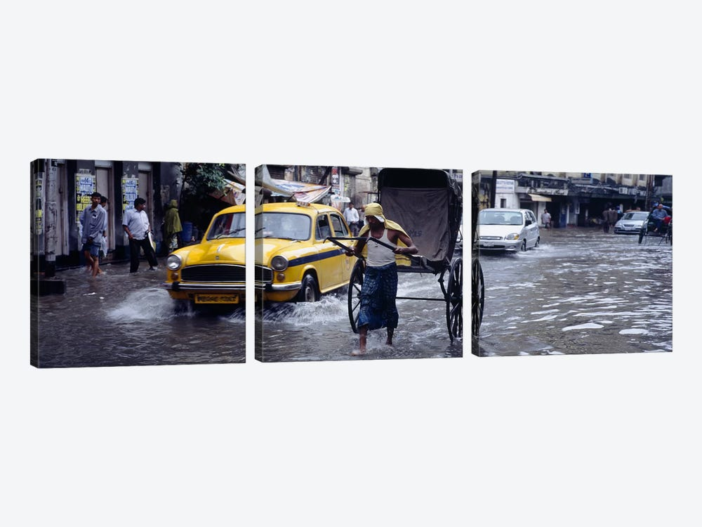 Pulled Rickshaw In Traffic On A Flooded Street, Calcutta, West Bengal, India by Panoramic Images 3-piece Canvas Art