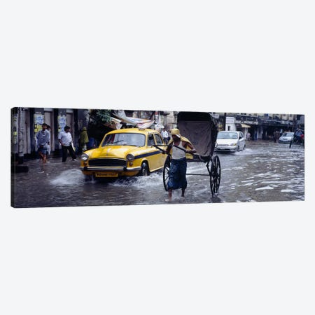 Pulled Rickshaw In Traffic On A Flooded Street, Calcutta, West Bengal, India Canvas Print #PIM5472} by Panoramic Images Canvas Print
