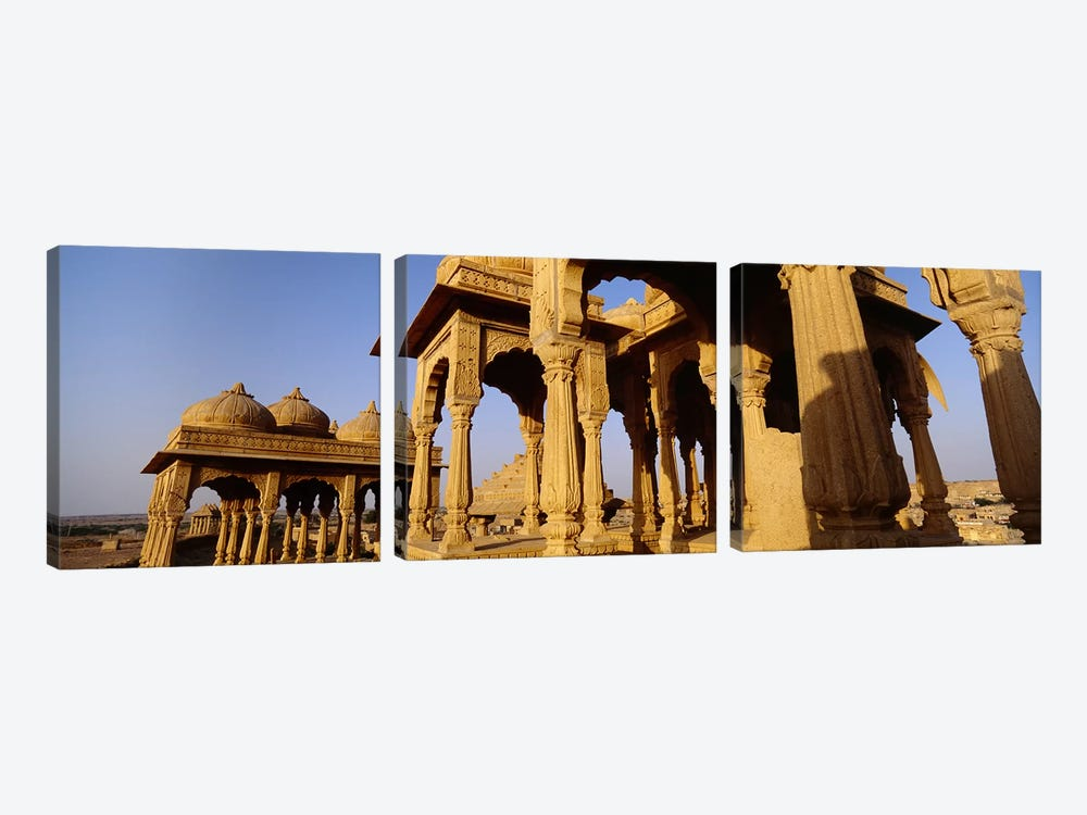 Low angle view of monuments at a place of burial, Jaisalmer, Rajasthan, India by Panoramic Images 3-piece Art Print