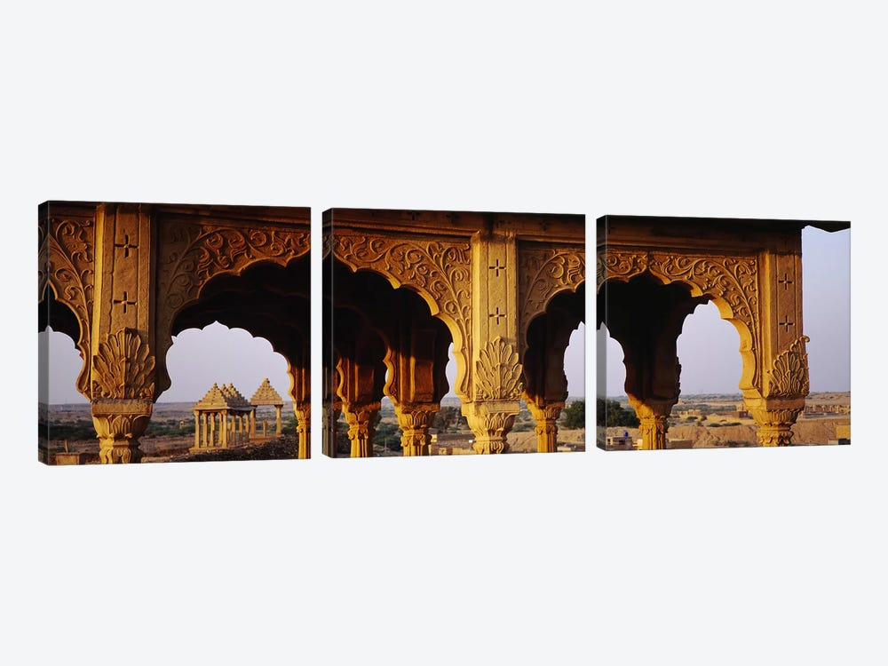 Monuments at a place of burial, Jaisalmer, Rajasthan, India by Panoramic Images 3-piece Canvas Artwork