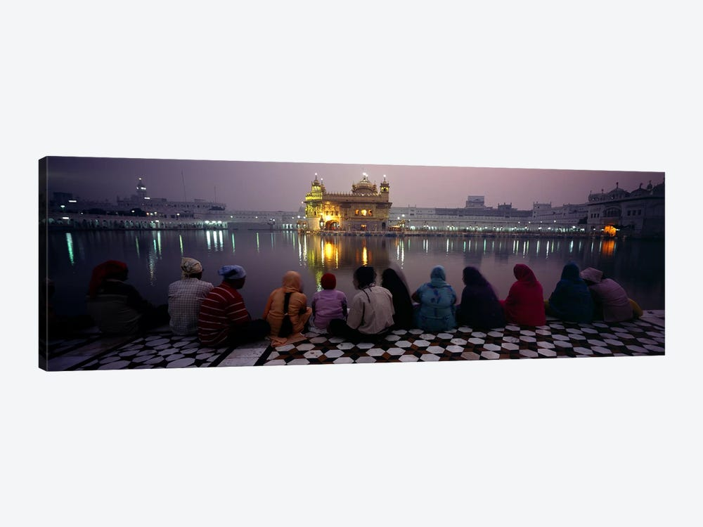 Group of people at a temple, Golden Temple, Amritsar, Punjab, India 1-piece Canvas Print