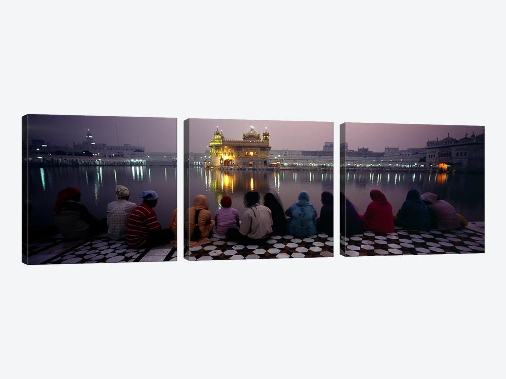 Group of people at a temple, Golden Temple, Amritsar, Punjab, India 3-piece Canvas Art Print