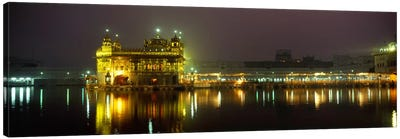 Temple lit up at night, Golden Temple, Amritsar, Punjab, India Canvas Art Print