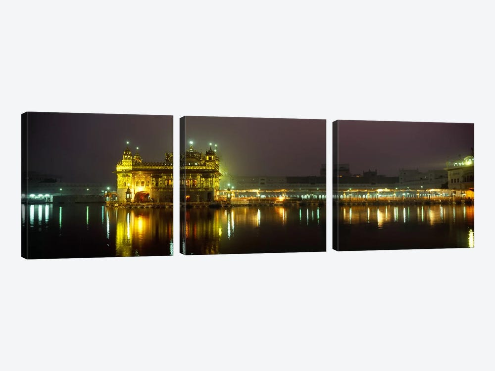 Temple lit up at night, Golden Temple, Amritsar, Punjab, India by Panoramic Images 3-piece Canvas Print