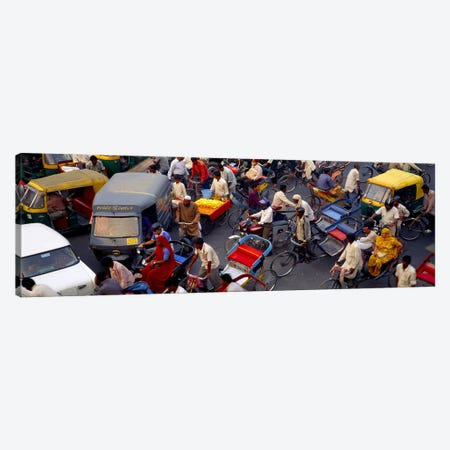Traffic Jam In Old Delhi, Delhi, India Canvas Print #PIM5481} by Panoramic Images Canvas Art