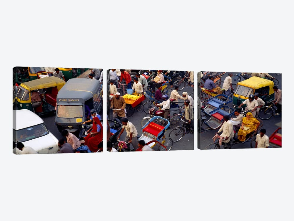 Traffic Jam In Old Delhi, Delhi, India by Panoramic Images 3-piece Canvas Art