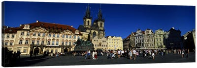 Group of people at a town square, Prague Old Town Square, Old Town, Prague, Czech Republic Canvas Art Print