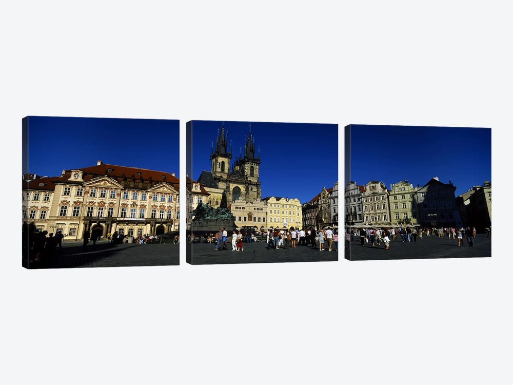 Group of people at a town square, Prague Old Town Square, Old Town, Prague, Czech Republic by Panoramic Images 3-piece Canvas Art Print
