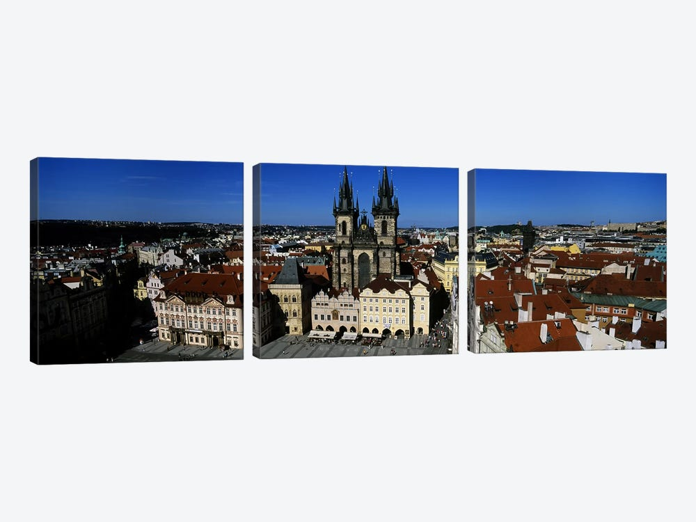High angle view of a cityscape, Prague Old Town Square, Old Town, Prague, Czech Republic by Panoramic Images 3-piece Canvas Artwork