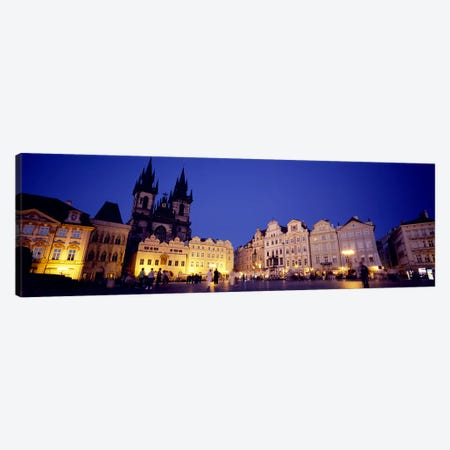 Buildings lit up at dusk, Prague Old Town Square, Old Town, Prague, Czech Republic Canvas Print #PIM5500} by Panoramic Images Canvas Print