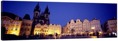 Buildings lit up at dusk, Prague Old Town Square, Old Town, Prague, Czech Republic Canvas Print #PIM5500