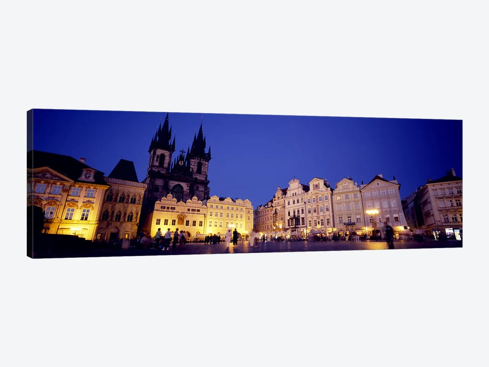 Buildings lit up at dusk, Prague Old Town Square, Old Town, Prague, Czech Republic by Panoramic Images 1-piece Canvas Art
