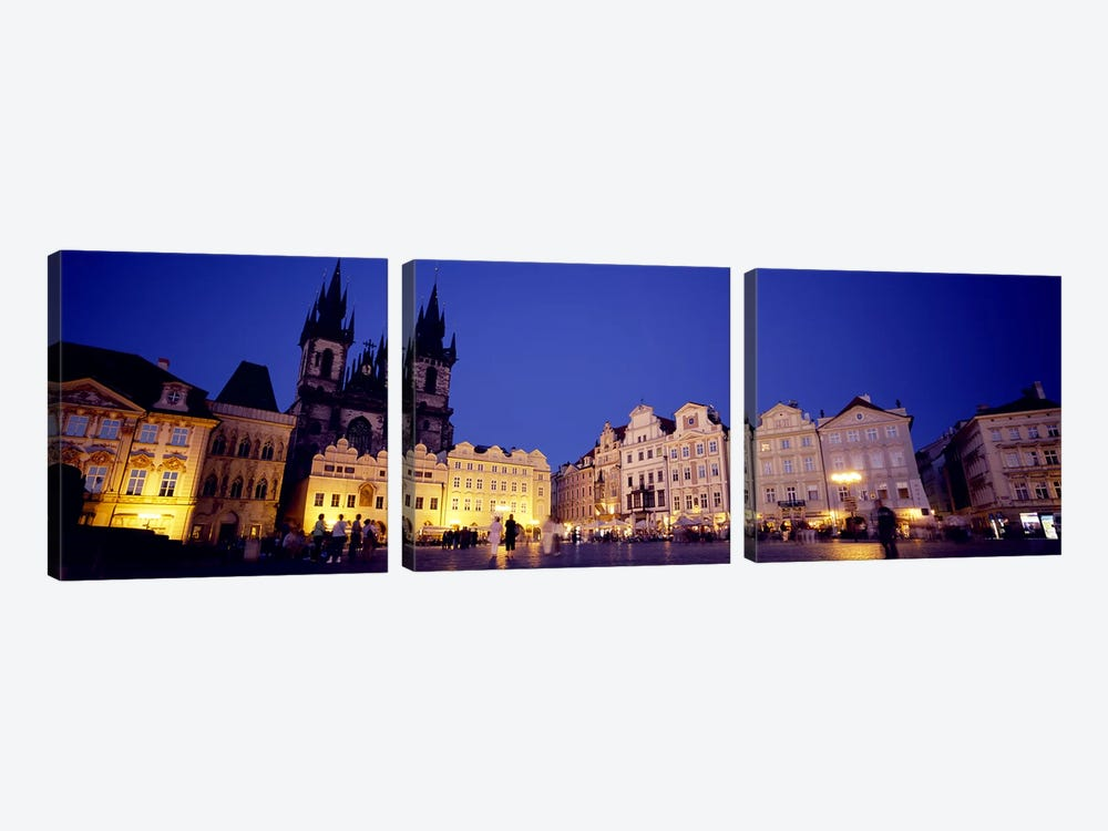 Buildings lit up at dusk, Prague Old Town Square, Old Town, Prague, Czech Republic by Panoramic Images 3-piece Canvas Wall Art