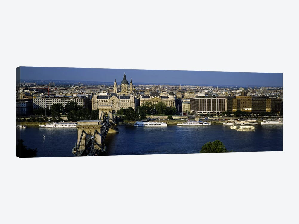 Buildings at the waterfront, Chain Bridge, Danube River, Budapest, Hungary by Panoramic Images 1-piece Canvas Art Print