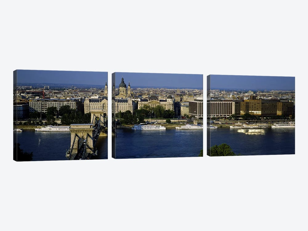 Buildings at the waterfront, Chain Bridge, Danube River, Budapest, Hungary by Panoramic Images 3-piece Canvas Art Print