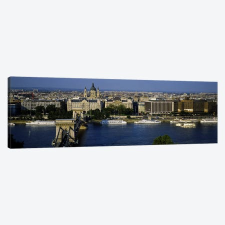 Buildings at the waterfront, Chain Bridge, Danube River, Budapest, Hungary 3-Piece Canvas #PIM5501} by Panoramic Images Canvas Art Print