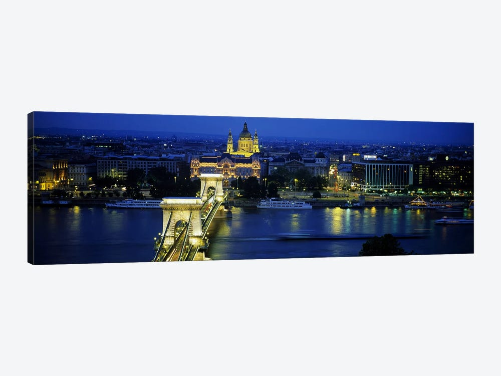 High angle view of a suspension bridge lit up at dusk, Chain Bridge, Danube River, Budapest, Hungary 1-piece Canvas Wall Art