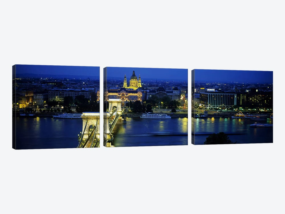 High angle view of a suspension bridge lit up at dusk, Chain Bridge, Danube River, Budapest, Hungary by Panoramic Images 3-piece Canvas Artwork