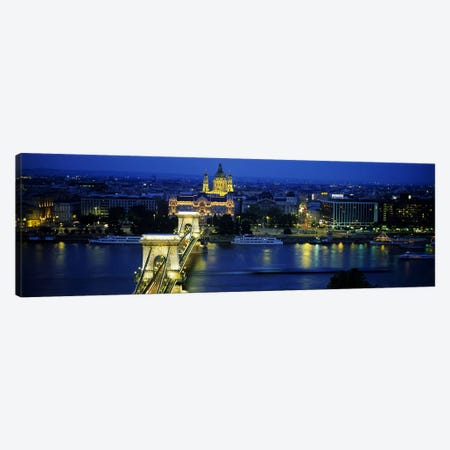 High angle view of a suspension bridge lit up at dusk, Chain Bridge, Danube River, Budapest, Hungary 3-Piece Canvas #PIM5502} by Panoramic Images Canvas Print