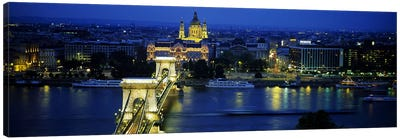 High angle view of a suspension bridge lit up at dusk, Chain Bridge, Danube River, Budapest, Hungary Canvas Art Print