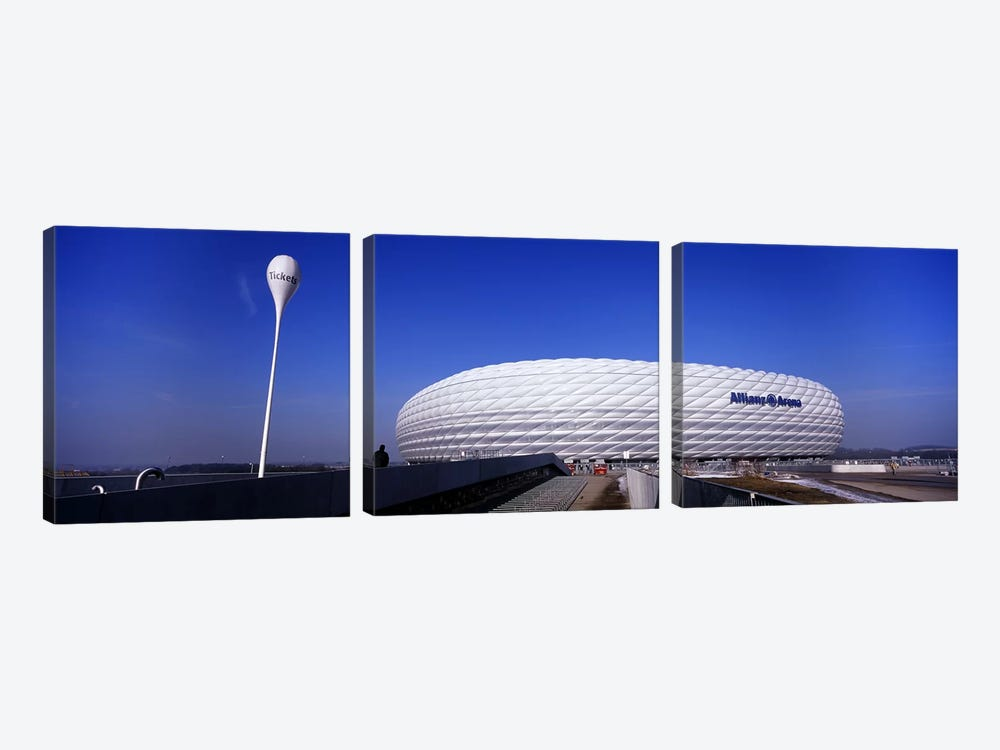 Soccer stadium in a city, Allianz Arena, Munich, Bavaria, Germany by Panoramic Images 3-piece Canvas Art Print