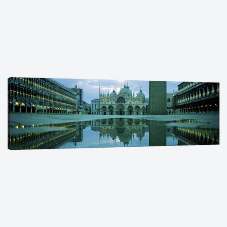 Reflection of a cathedral on water, St. Mark's Cathedral, St. Mark's Square, Venice, Veneto, Italy Canvas Print #PIM5506} by Panoramic Images Canvas Artwork