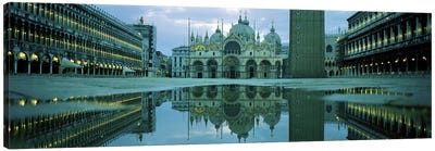 Reflection of a cathedral on water, St. Mark's Cathedral, St. Mark's Square, Venice, Veneto, Italy Canvas Art Print