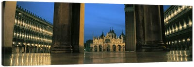 Cathedral lit up at dusk, St. Mark's Cathedral, St. Mark's Square, Venice, Veneto, Italy Canvas Art Print