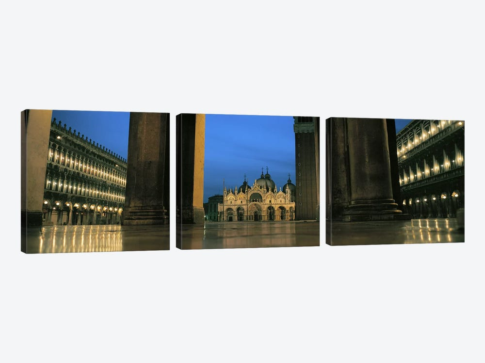 Cathedral lit up at dusk, St. Mark's Cathedral, St. Mark's Square, Venice, Veneto, Italy by Panoramic Images 3-piece Canvas Art Print