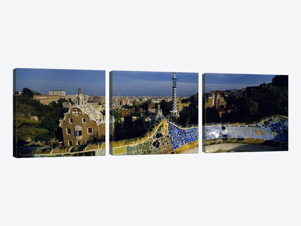 Parc Guell, Barcelona, Catalonia, Spain by Panoramic Images 3-piece Canvas Print